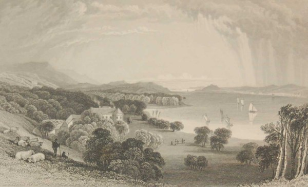 Antique print from 1832 of Bantry House, Cork, Ireland. The print was engraved by J C Varrall and is after a drawing by William Bartlett.