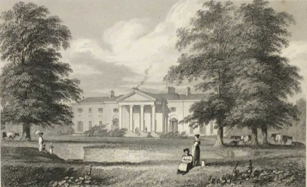 Antique print from 1832 of the Vice Regal Lodge Phoenix Park, Dublin now Áras an Uachtaráin. The print was engraved by J Mc Gahey and is after a drawing by George Petrie.