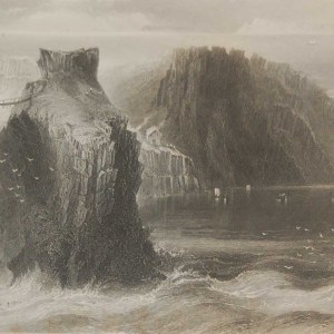 1850 antique print a steel engraving of Carrick A Rede rope bridge in County Antrim. The print was engraved by Charles Cousen and is after a drawing by W H Bartlett.