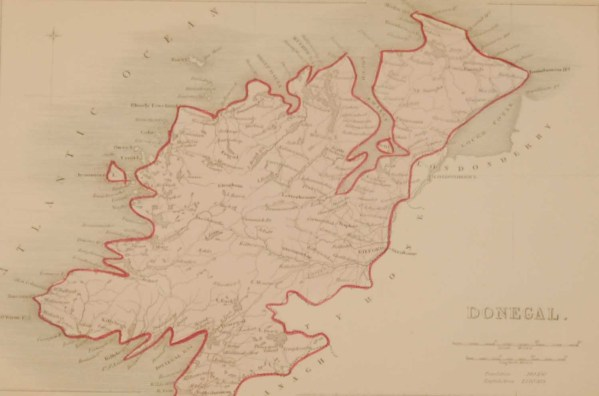 Antique colour Map of Donegal, the map was engraved by A Adlard and published by Hall and Virtue in London. These maps are referenced as being produced between 1846 and 1850.