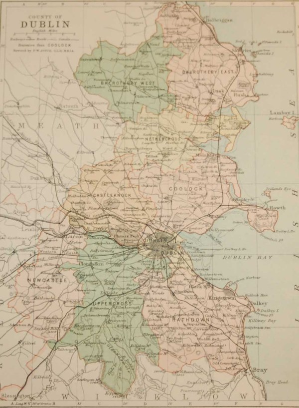 Antique map published in 1883 of County Dublin, Ireland. The map breaks the county down into it's historical baronies including Balrothery West, Balrothery East, Nethercross, Castleknock, Coolock, Newcastle, Uppercross, Rathdown.