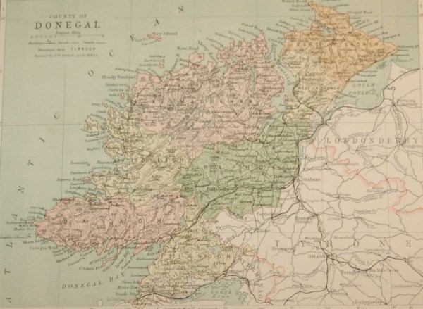 Antique map published in 1883 of County Donegal, Ireland. The map breaks the county down into it's historical baronies including East Innishowen, West Innishowen, Raphoe, Tirhugh, Banagh, Boylagh, Kilmacrenan.