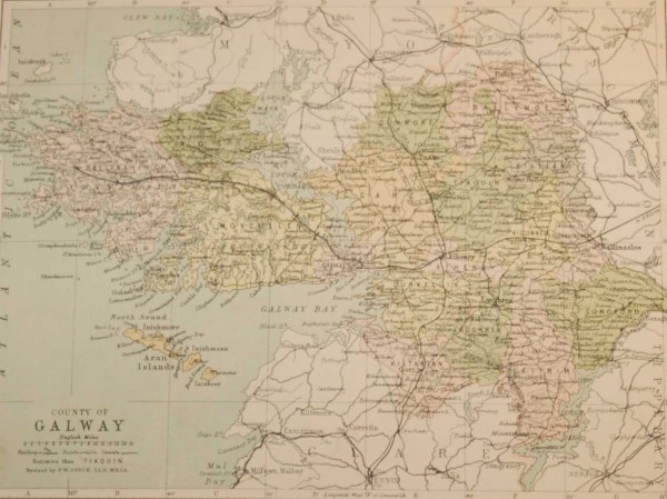 Antique map published in 1883 of County Galway, Ireland. The map breaks the county down into it's historical baronies including Ballynahinch, Connamara, Moycullen, Ross, Clare, Dunmore, Ballymoe, Tiaquin, Dunkellin.