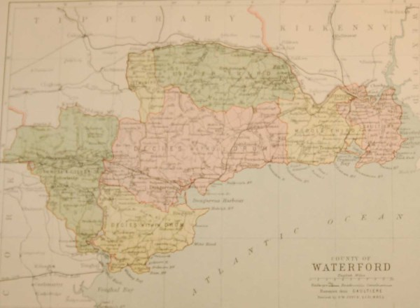 Antique map published in 1883 of County Waterford, Ireland. The map breaks the county down into it's historical baronies.