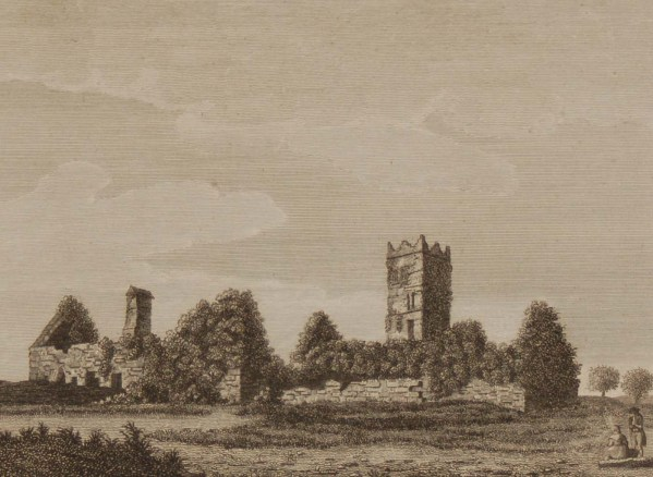 1797 antique print a copper plate engraving of Clare Abbey, County Clare, Ireland.