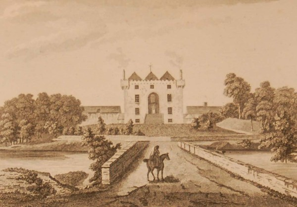 1797 antique print a copper plate engraving of Donamon Castle, County Roscommon, Ireland.