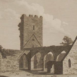 1797 antique print a copper plate engraving of Roscommon Abbey, Ireland, titled Plate 2.