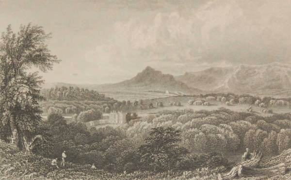 Antique print from 1832 of Curaghmore County Waterford. The print was engraved by Robert Brandard and is after a drawing by W H Bartlett.