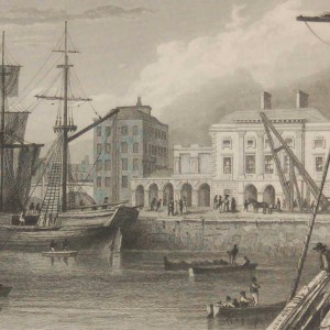 Antique print from 1832 of the Custom House Limerick . The print was engraved by E H Proctor and is after a drawing by William Bartlett.