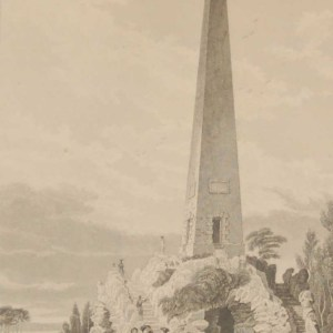 Antique print from 1832 of the Obelisk Newtown Park Dublin. The print was engraved by Benjamin Winkles and is after a drawing by George Petrie.