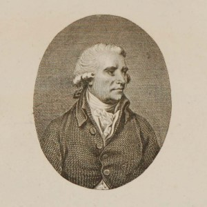 Engraving of Edmund Burke. Titled The Right Hon Edmund Burke. Burke was born in Dublin and educated at Trinity College and an MP for the Whig Party.