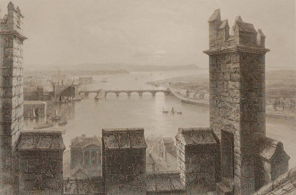 Antique prints from the 1840's of Limerick, Old Boats Bridge, Wellesley Bridge and The Shannon from the South Tower of Limerick Cathedral.