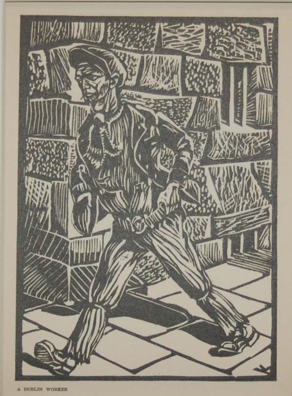 Harry Kernoff Woodcut for sale, Dublin Worker ,1948 Woodcut by Harry Kernoff framed.