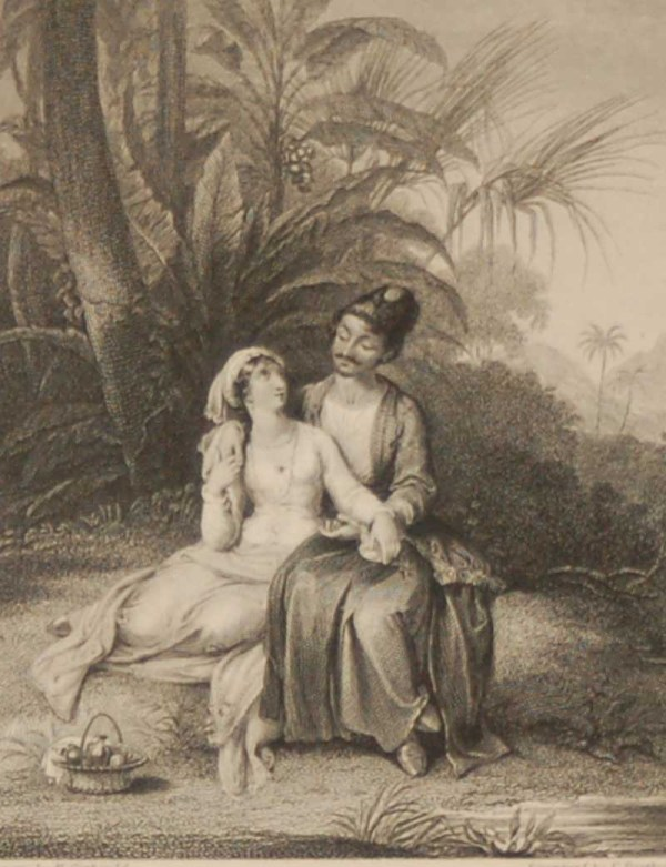 Antique Victorian print, an engraving published in 1840 after a painting by H Corbould, titled The Persian Lovers. The work was engraved by E Portbury.