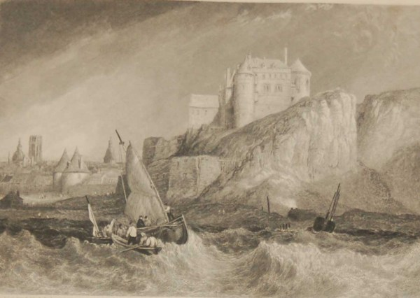 Antique Victorian print, an engraving published in 1840 after a painting by Clarkson Frederick Stanfield , titled Dieppe. Engraved by W Miller.