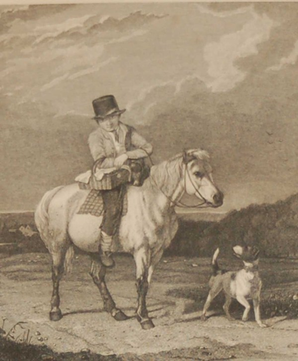 Antique Victorian print, an engraving published in 1840 after a painting by Thomas Woodward, titled The Tempting Present.