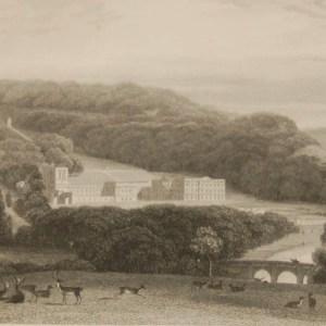 Antique Victorian print, an engraving published in 1840 after a painting by William Daniell R.A., titled Chatsworth. Engraved by J C Armytage.