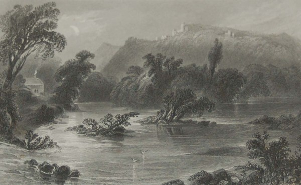Pair of antique prints from the 1840's of the Meeting of the Waters & Castle Howard, vale of Avoca, County Wicklow.
