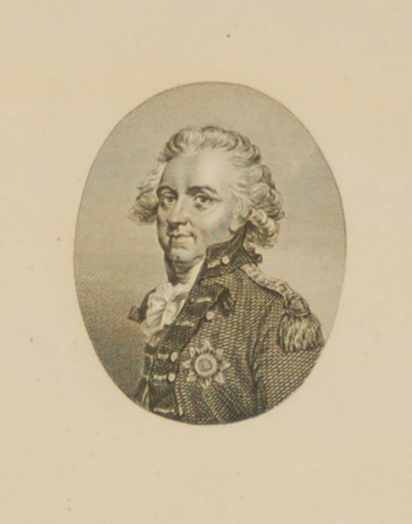 Antique Georgian engraving of Sir Henry Clinton. He was made the British Commander in Chief during the American War for Independence.