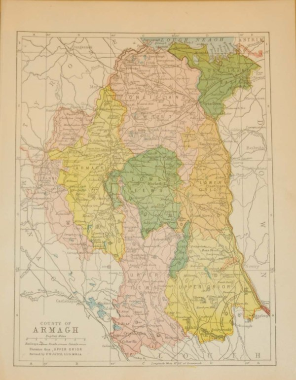 Antique map of County Armagh. The map breaks the county down into it's historical baronies including Flews, Orior, Armagh, Tiranny, Oneilland.
