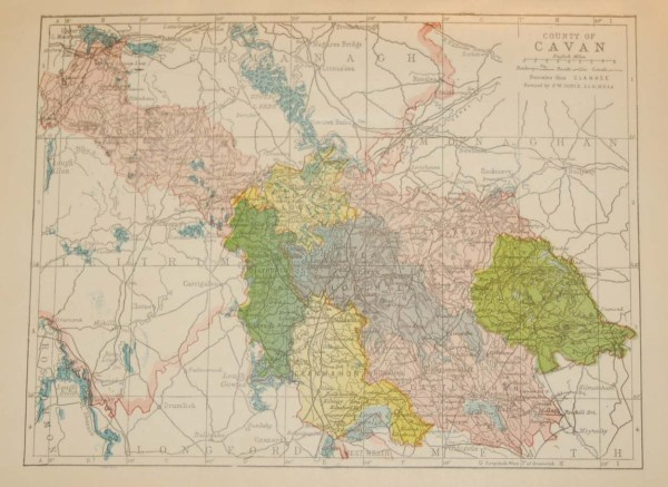 Antique map of County Cavan. The map breaks the county down into it's historical baronies including Castlerahan, Clanmahon, Ullyhaw, Tullygarvey.