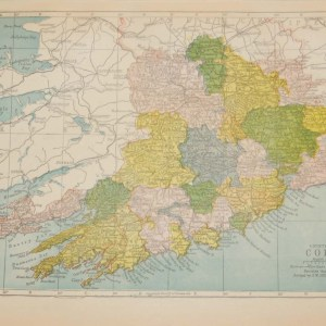 Antique map of County Cork. The map breaks the county down into it's historical baronies including Orrery & Kilmore, Duhallow, Fermoy, Barretts, Gondons Clangibbon, West Muskerry, Eastmuskerry, Kinalmeaky, West Carberry.