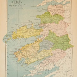 Antique map of County Kerry. The map breaks the county down into it's historical baronies including Traghticonnor, Clanmaurice, Trughanacmy, Corkaguiny, Maguniry, Dunkerron, Iveragh, Clanarought.