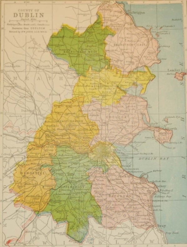 Dublin 1902 Antique Map including Baronies