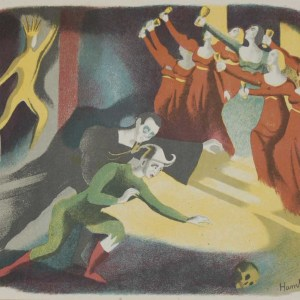 Vintage colour print by Sheila Jackson from 1945 titled Hamlet.