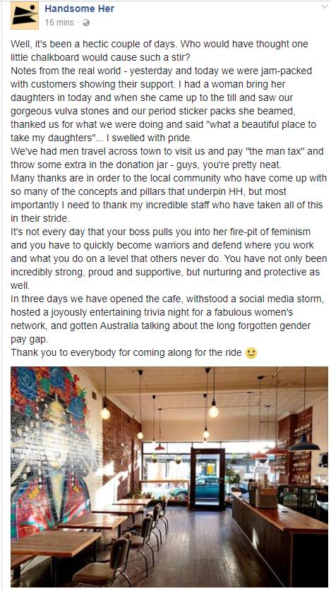 Vegan cafe in Melbourne gives women priority seating and charges men 18% 'man tax'