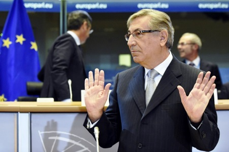 Karmenu Vella, EU commissioner-designate for environment, maritime affairs and fisheries, attends a hearing by the European Parliament in Brussels on September 29, 2014 as EU commissioner nominees face MEPs for an evaluation of their expertise. The 28 men and women picked to run the EU for the next five years are facing a grilling by the European Parliament this week. AFP PHOTO/JOHN THYS        (Photo credit should read JOHN THYS/AFP/Getty Images)