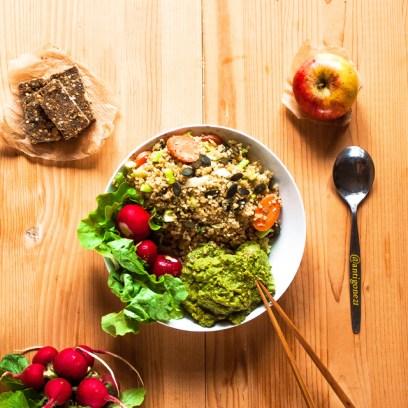 Taboulé, crème de brocoli & petites barres énergie