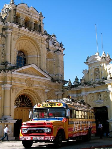 Marimba Chicken Bus and Church of San Pedro