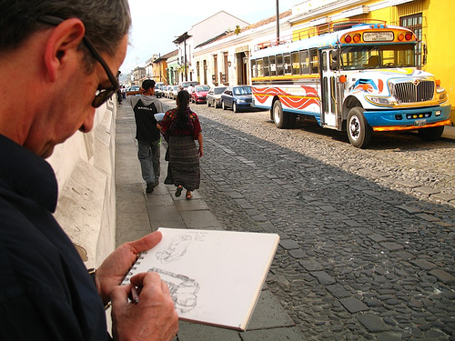 Photographing the Drawing of the Chicken Bus