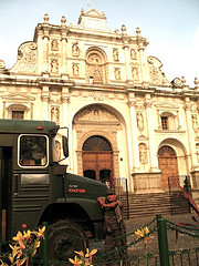 Military Chicken Bus in Front of Antigua's Cathedral
