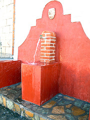 Colonial-style public tap water Faucets are common in the villages of La Antigua Guatemala