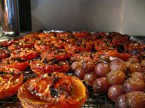 Roasted tomatoes and Grapes