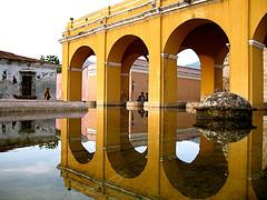 Arches reflected on Tanque de la Unión