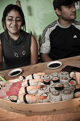 Sharing Sushi at Ubi's Sushi 2 by Arturo Godoy