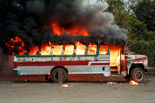 Scenes from the film Polvo: Burning Chicken Bus by  Rudy Girón