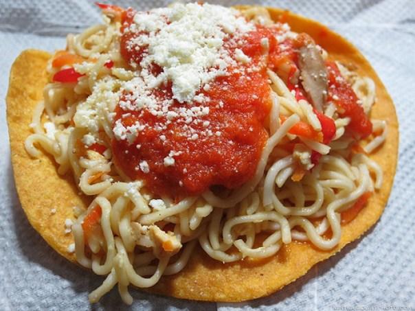 Guatemalan chow mein tostada by Rudy A. Girón