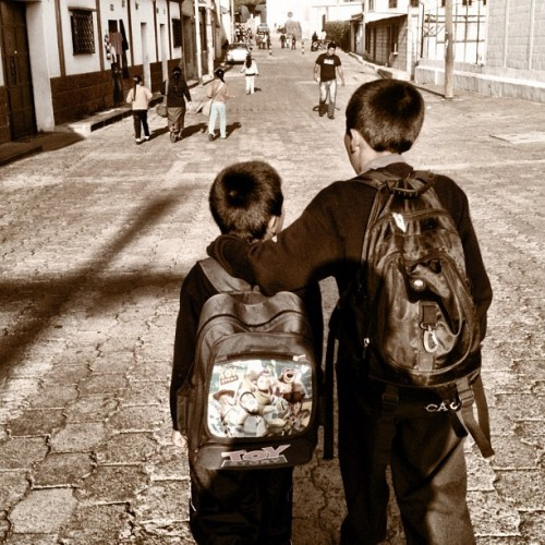 Let's go to school my little brother by Rudy Girón