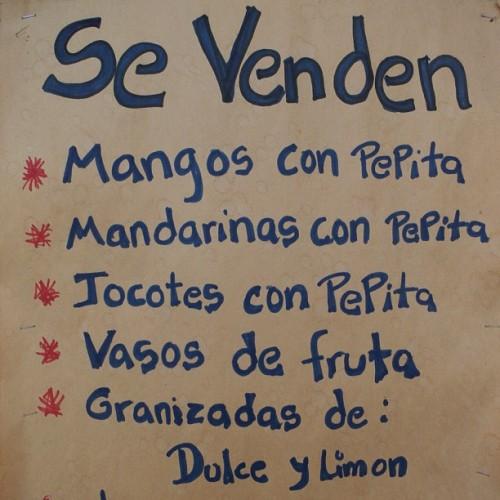 Se venden jocotes con pepita sign by Rudy Girón