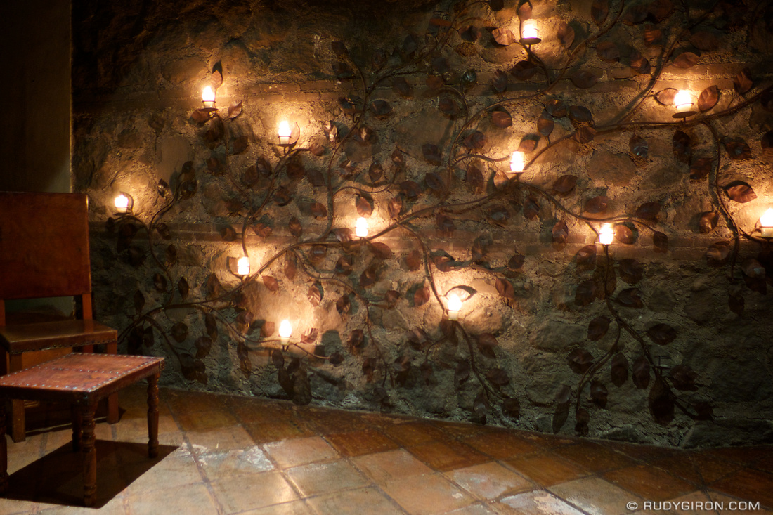 Ironwork Candle Wall Holder At Night