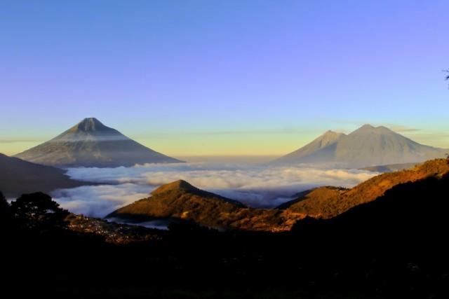 Sunrise over Valle de Panchoy, AKA Antigua Guatemala by Federico Rosales-Arzu