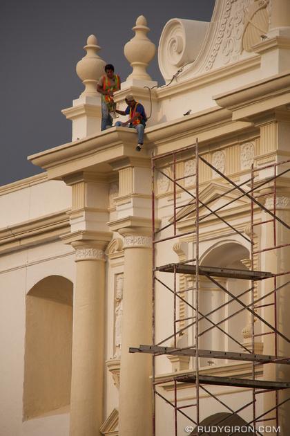 Rudy Giron: Antigua Guatemala &emdash; Fixing the spot light at the cathedral, Antigua Guatemala