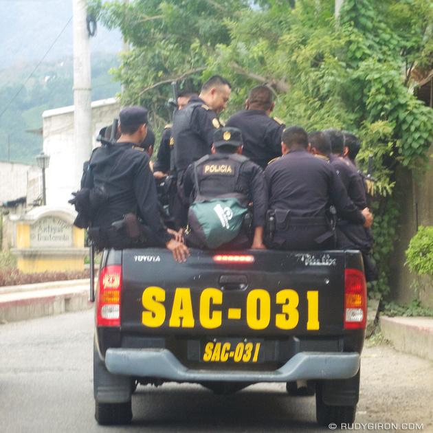 Rudy Giron: Antigua Guatemala &emdash; Truck full of Cops