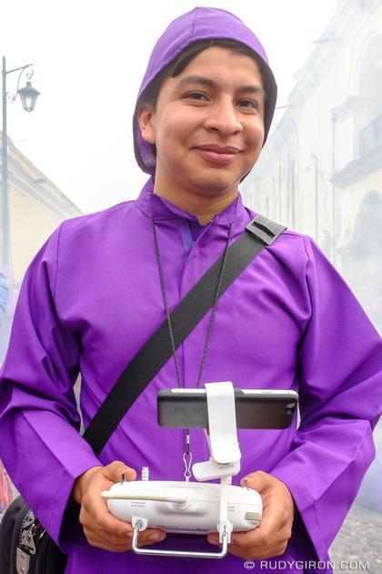 Rudy Giron: Antigua Guatemala &emdash; Street Portraits of Strangers — Cucurucho with drone controller