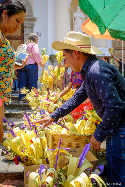 Rudy Giron: Antigua Guatemala &emdash; Palm Sunday booth outside the Cathedral in Antigua Guatemala