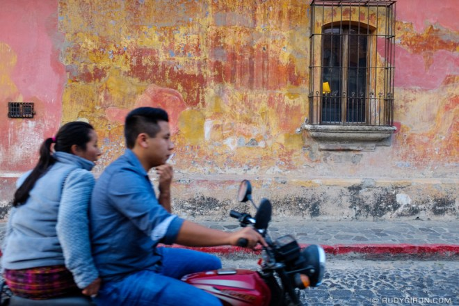Rudy Giron: Antigua Guatemala &emdash; Motorcyles are the most popular vehicle for couples